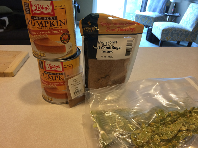 Ingredients for our Pumpkin Ale